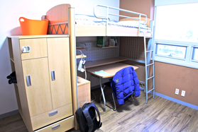 A photo example of an occupied student dorm room
