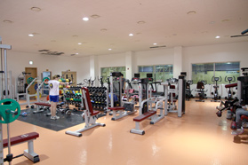 The fitness center has lots of equipment for cardio, weightlifting, and interval training